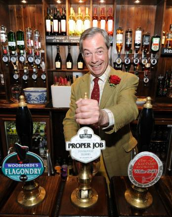 Nigel Farage pours himself a pint in the Black Bull, Yarm