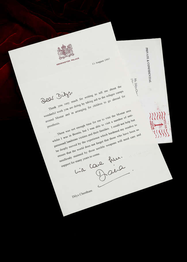 HISTORIC DOCUMENT: The letter Princess Diana sent to thank humanitarian campaigner Dilys Cheetham