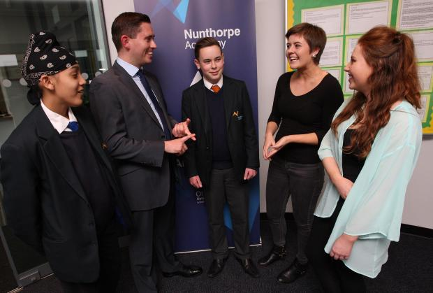 Tom Blenkinsop, Labour MP for Middlesbrough South and East Cleveland, on a visit at Nunthorpe Academy to engage with Students there. Pictured from the left are, Hind Singh, Tom Blenkinsop, Ben Todd, Alicia Robinson and Abigail Shepherd.