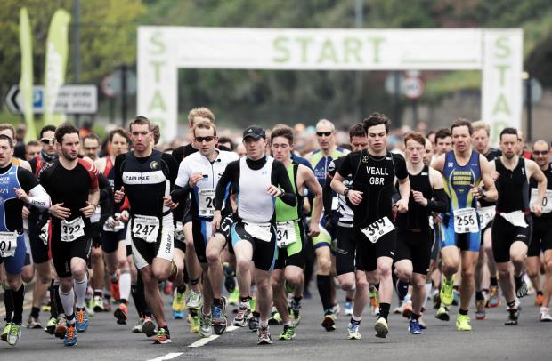 Runners at the start of the sprint (5km run, 20km cycle and 2.5km run) event at Stockton's annual duathlon race