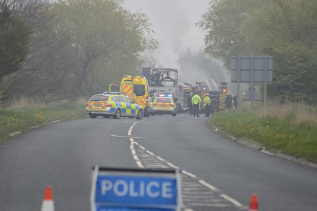 Scene of crash on A172 at Stokesley