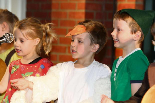 PEERLESS PERFORMANCE: Pupils perform Jack and the Beanstalk, L-R, Crecie Hurst, Harry Russell Dales and Owen Ovens