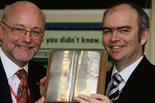 Darlington and Stockton Times: TROPHY WINNER: Alex Cunningham, left, with DSMS headteacher Calvin Kipling and the 1969 Richard Luck Trophy the Stockton North MP won as a fourth year English student