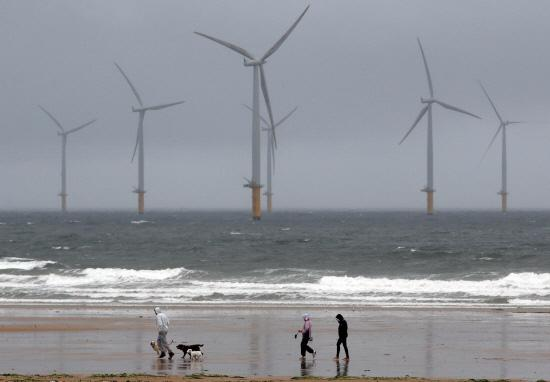 Redcar seafront where a windsurfer got into difficulty at sea on Friday