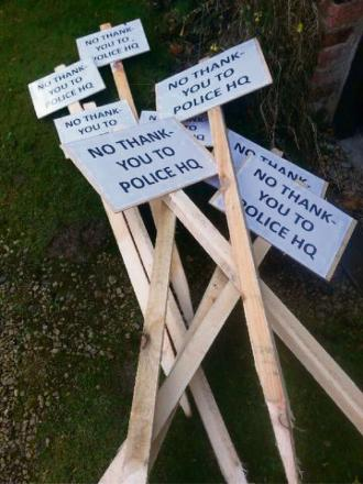 MYSTERY THEFT: Some of the protest signs which have been stolen from gardens in South Kilvington