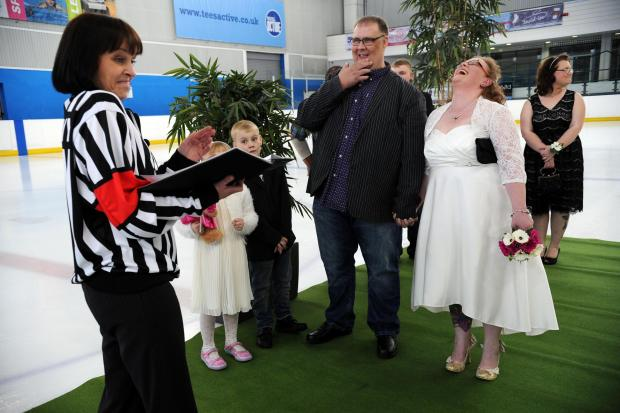 Darlington and Stockton Times: Ice Wedding: Michael and Carolyn Duffy renew their wedding vows at the Billingham Forum Ice Arena. Celebrant is friend Natalie Swann