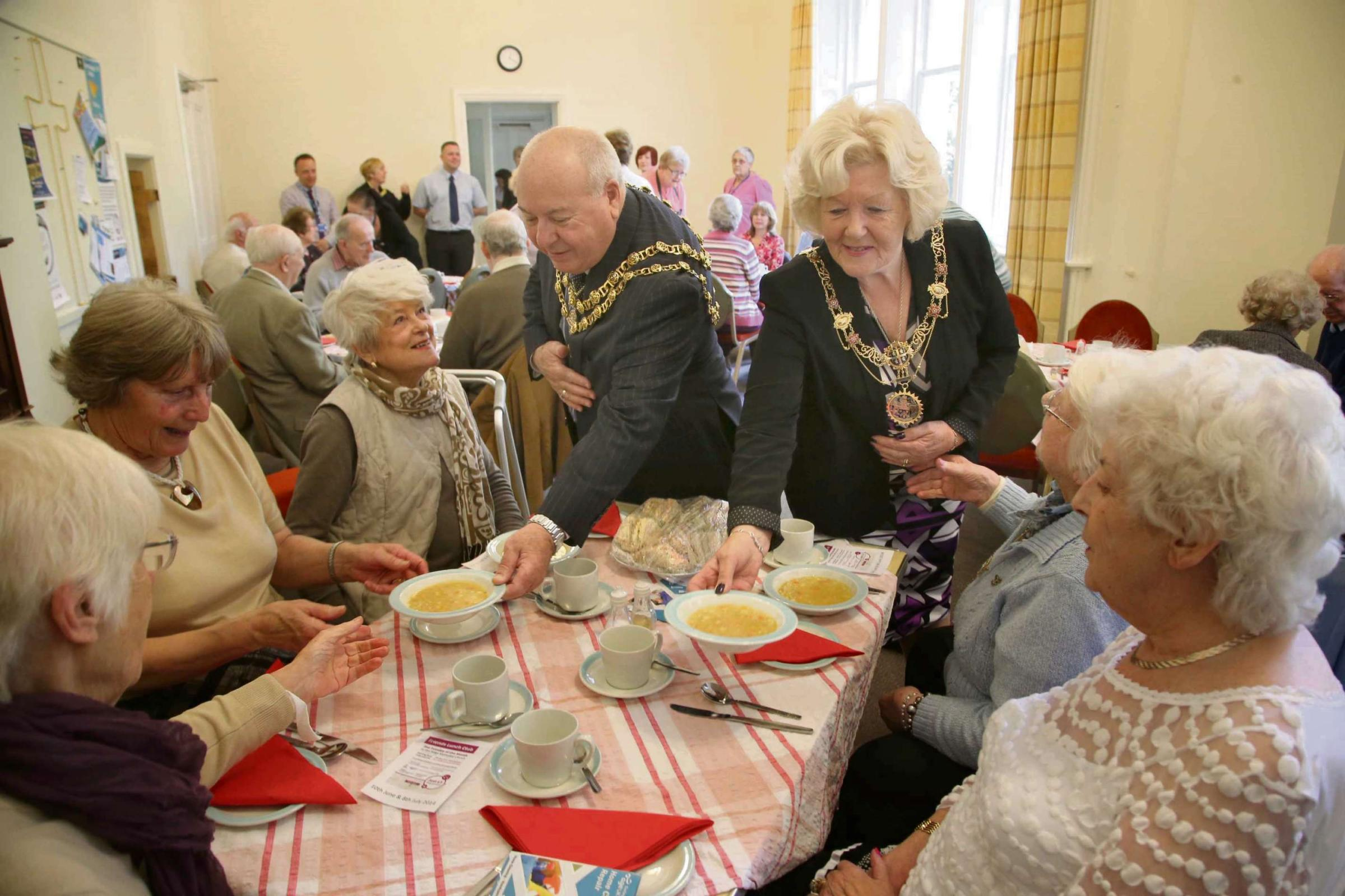 WAITING ON: Mayor and Mayoress of Darlington Charles and Carol Johnson serve soup at the Age UK lunch club