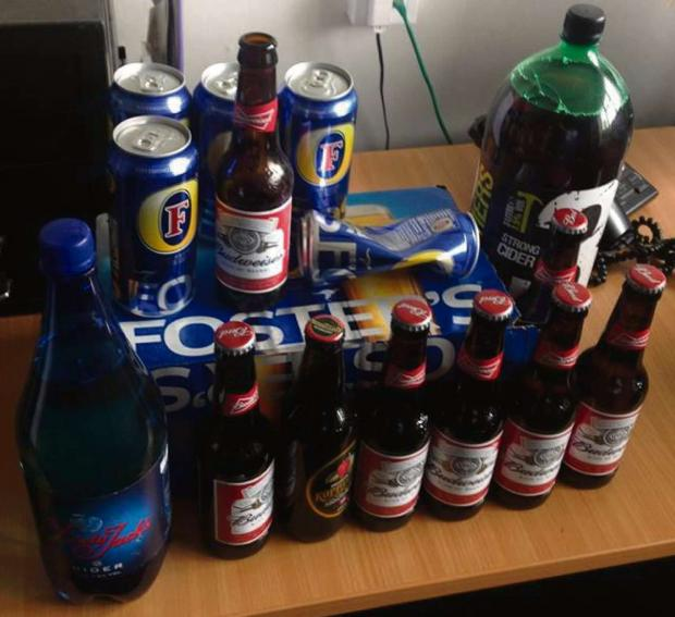 Some of the alcohol seized by police as part of Operation Staysafe