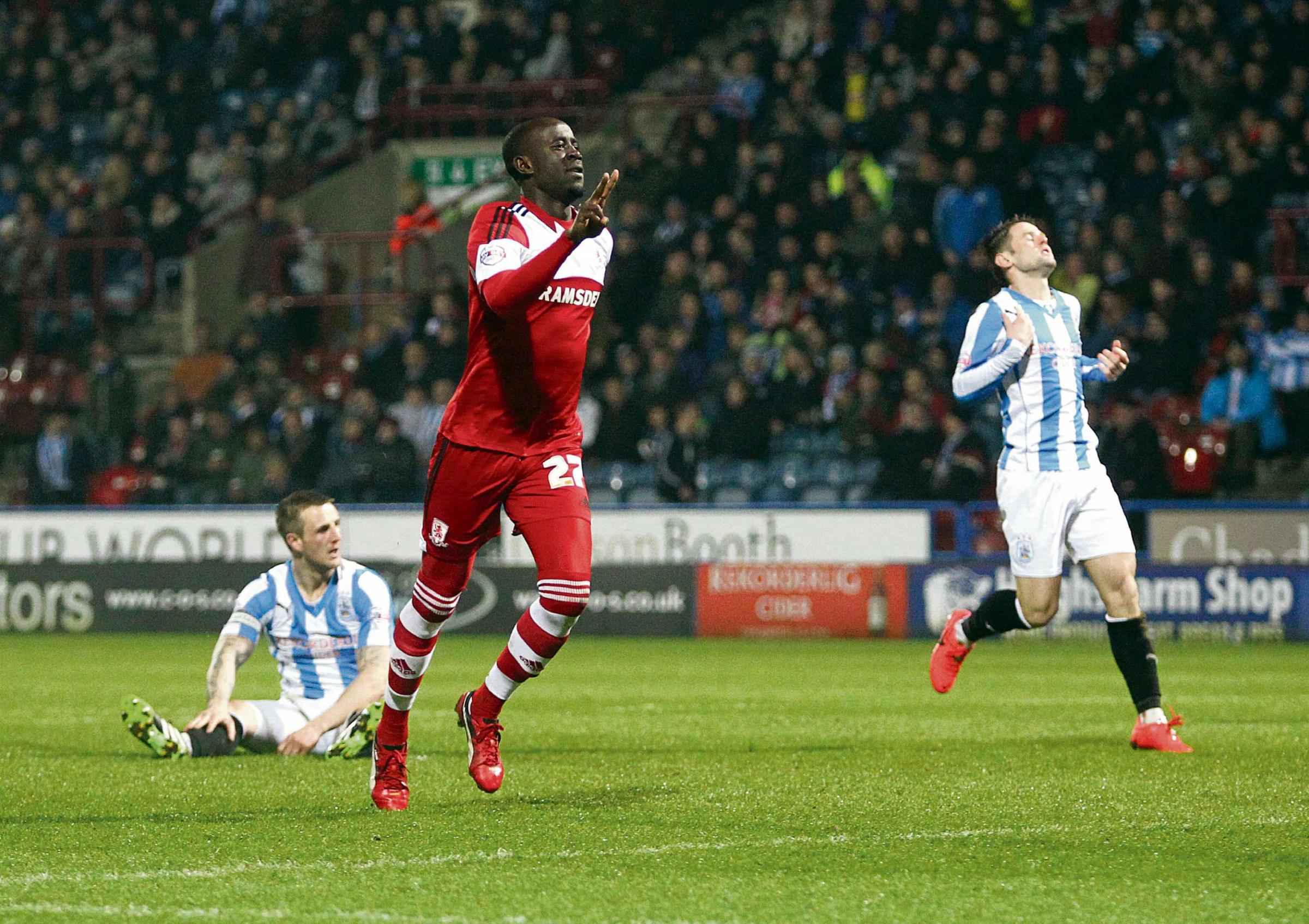 Storm: Middlesbrough's Albert Adomah scored at Huddersfield on his way to grabbing 12 goals