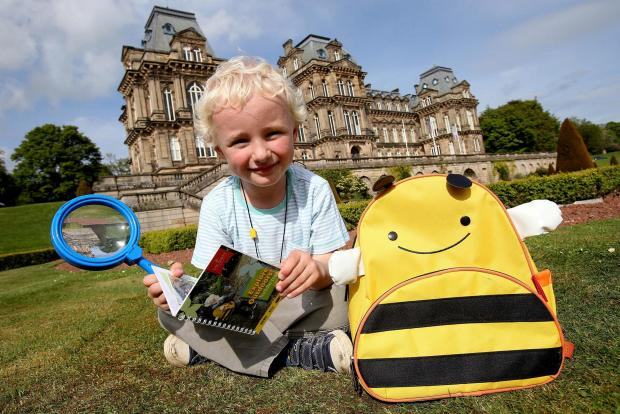 EXPLORE OUTDOORS. 4 year old Adam Smith with one of the new backpacks for children to use at Bowes Museum. Picture. DAVID WOOD