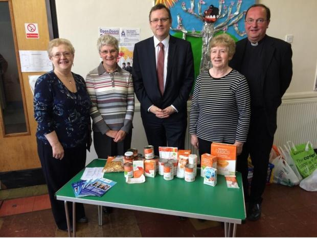 (L to R)  Elaine Thompson and Connie Spring, food bank volunteers, with Phil Wilson, Sedgefield MP, Bronwen Lee, volunteer, and the Reverand Michael Gobett