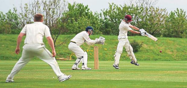 Paul Braithwaite from Seaton Carew CC bats during the match with Redcar Cricket Club. The game was abandoned after a third downpour halted proceedings