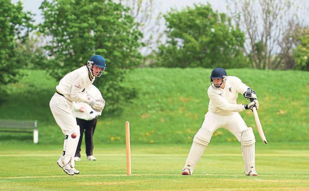 Darlington and Stockton Times: NEAR MISS: Matty Skirving from Seaton Carew CC bats during the match between Seaton Carew Cricket Club and Redcar Cricket Club