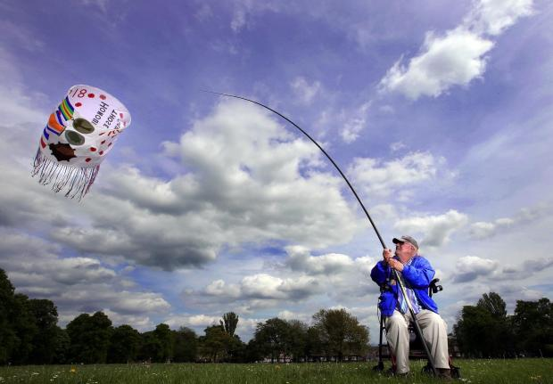 Darlington and Stockton Times: FLYING HIGH: Former RAF serviceman Jock Walker pictured in North Park, Darlington, flying the kite he made and designed in memory of his father and uncle who fought in the First World War  Picture: CHRIS BOOTH