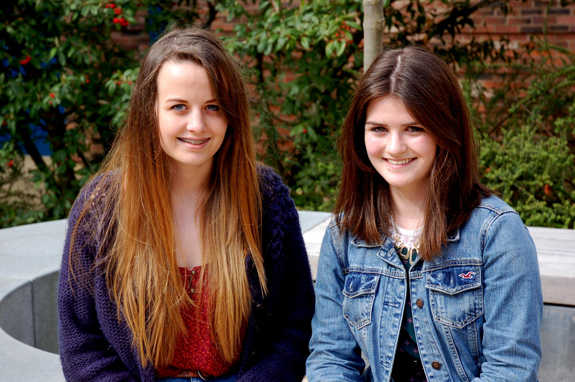 Sarah Sanderson, left, and Esther Farnell, the new vice-president and president of the student association of Queen Elizabeth Sixth Form College, in Darlington.