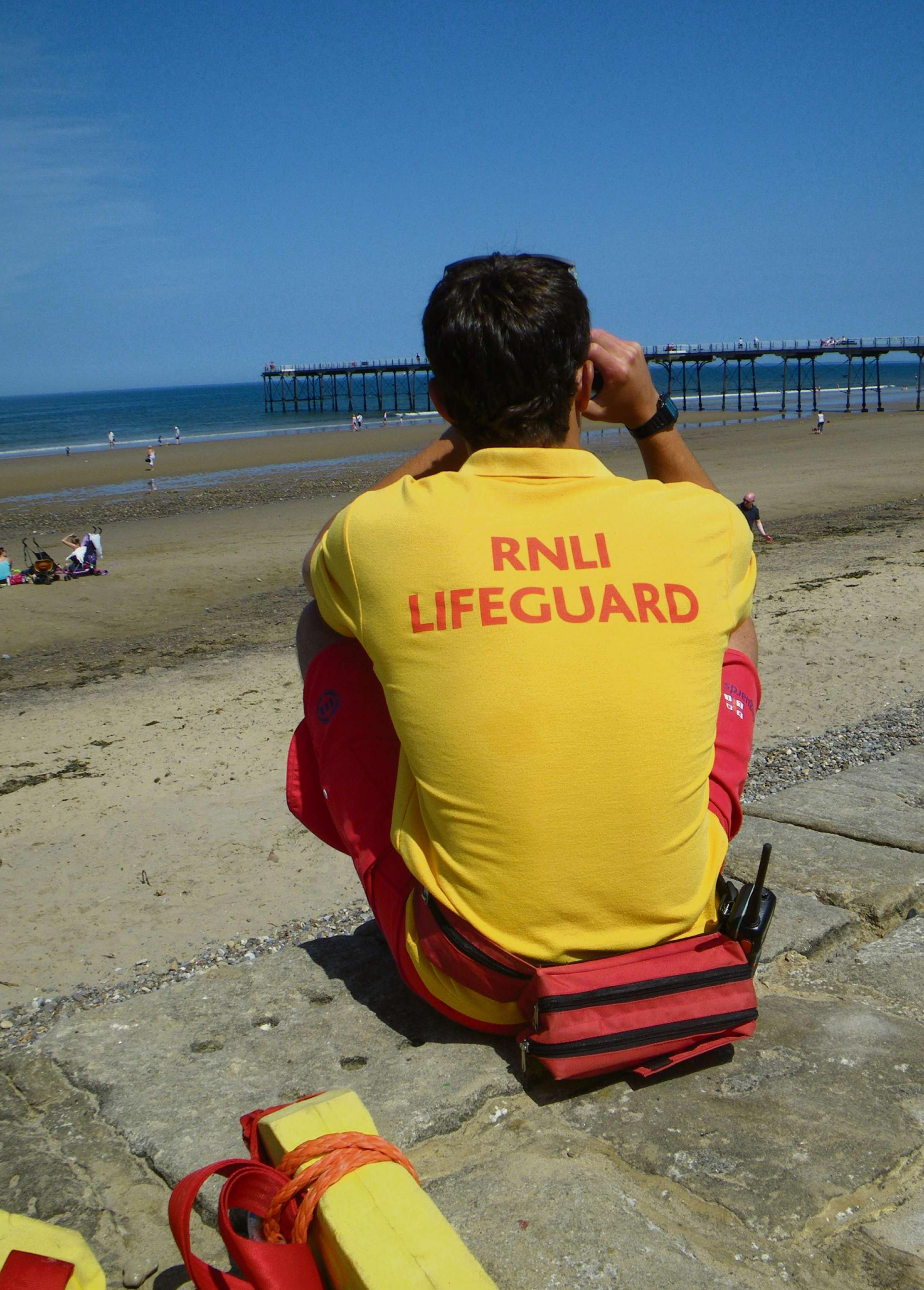A lifeguard on duty at Saltburn last year