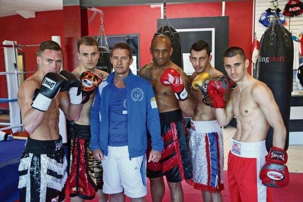 SECONDS OUT: Boxers appearing at The Dolphin Centre on friday with manager Paul Hamilton, centre. From left Neil Hepper, Lynden Watt,Paul Hamilton Danny Fleary, John Green and Chris Wood.Picture: ANDY LAMB