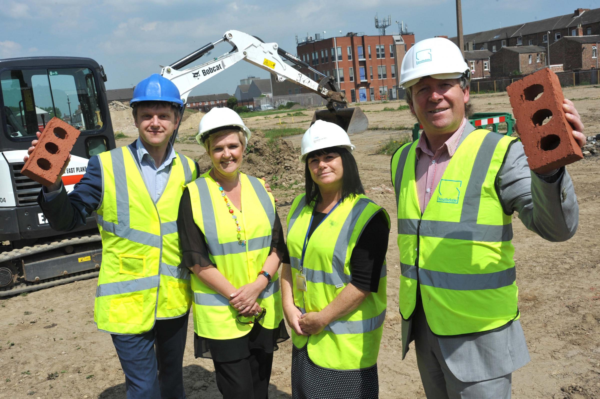 Housing development: (left to right) Martin Hawthorne from Thirteen Group, Julie Nixon from Stockton Council, Amanda Gallagher from Stockton Council and Steve Howard from Southdale.