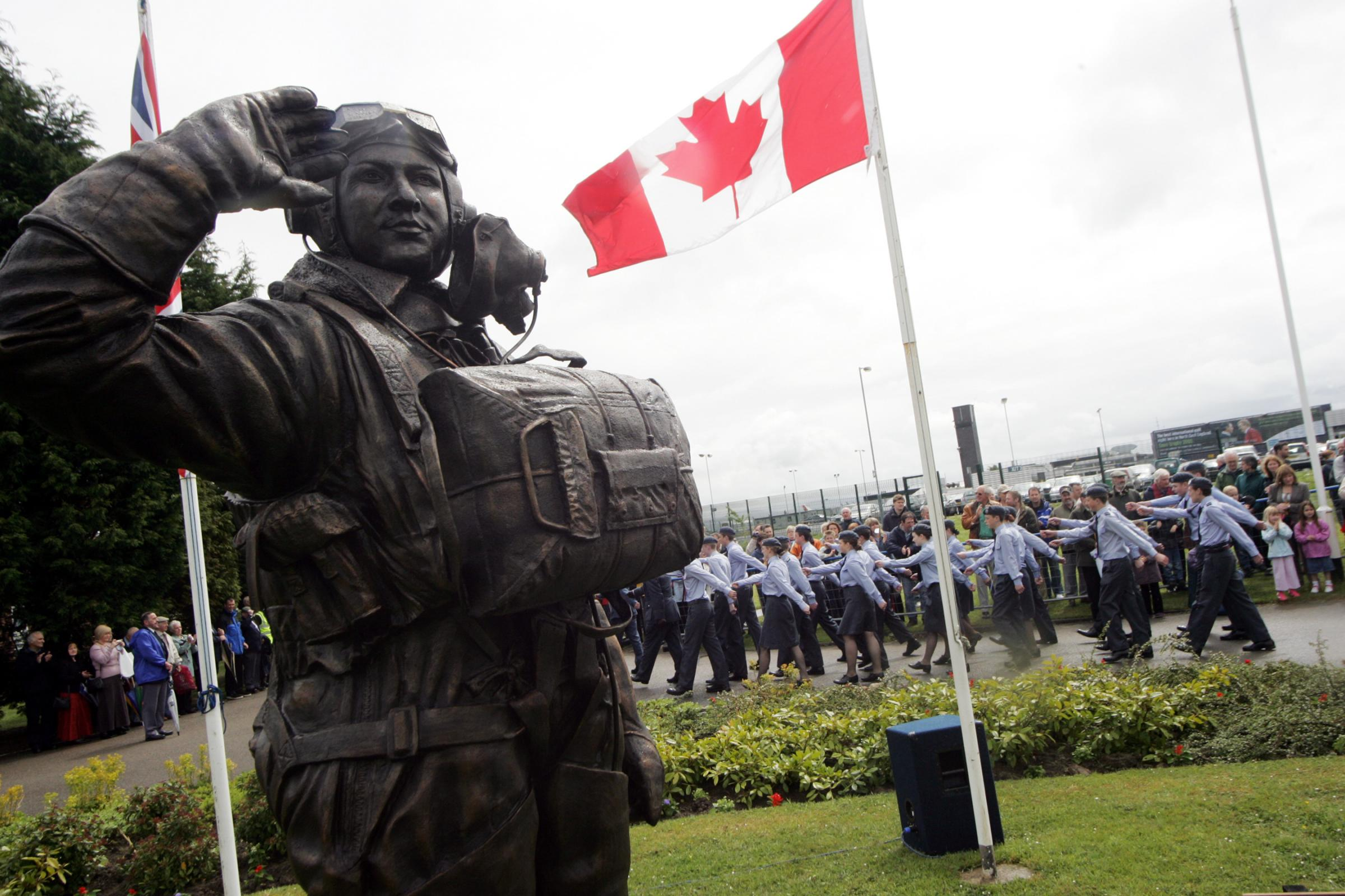REMEMBER HIM: A statue of Andrew Mynarski at the former RAF and RCAF base at Middleton St George, Darlington.