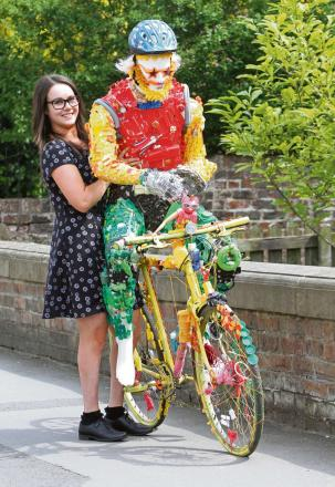 UP-CYCLED CYCLIST: Laura Shepherd with the cyclist made from recycled material at Rural Arts,Thirsk. Picture: RICHARD DOUGHTY