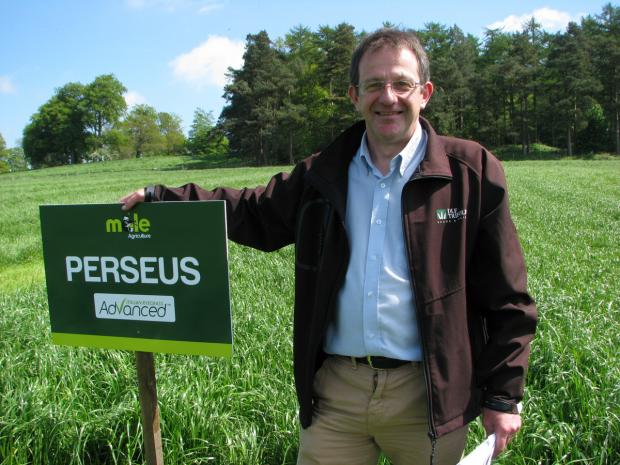 GRASS ADVICE: Tim Kerridge, of DLF Trifolium, with the advanced grass Perseus at the Mole Agriculture open day