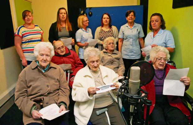 ON SONG: Residents and staff from Willow Green Care Home record their version of With a Little From My Friends at The Forum in Darlington. Picture: ANDY LAMB