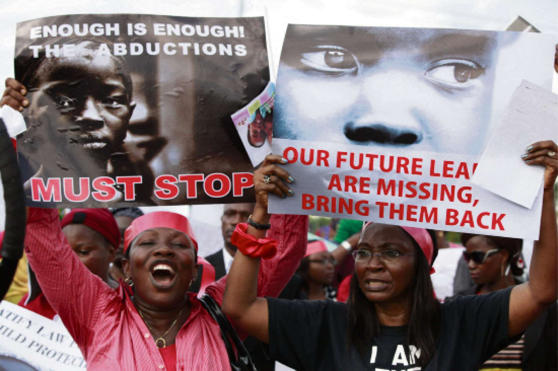 Women attend a demonstration calling on the Government to rescue schoolgirls kidnapped from a boarding school in Chibok, in Lagos, Nigeria on April 14.