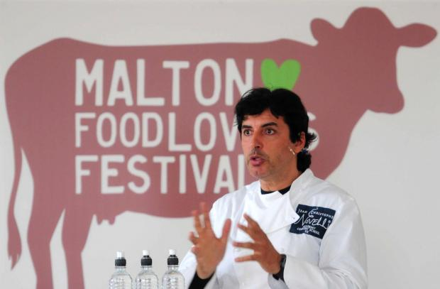 Darlington and Stockton Times: FOOD FESTIVAL: Jean-Christophe Novelli talks to the crowds at Malton Food Lovers Festival