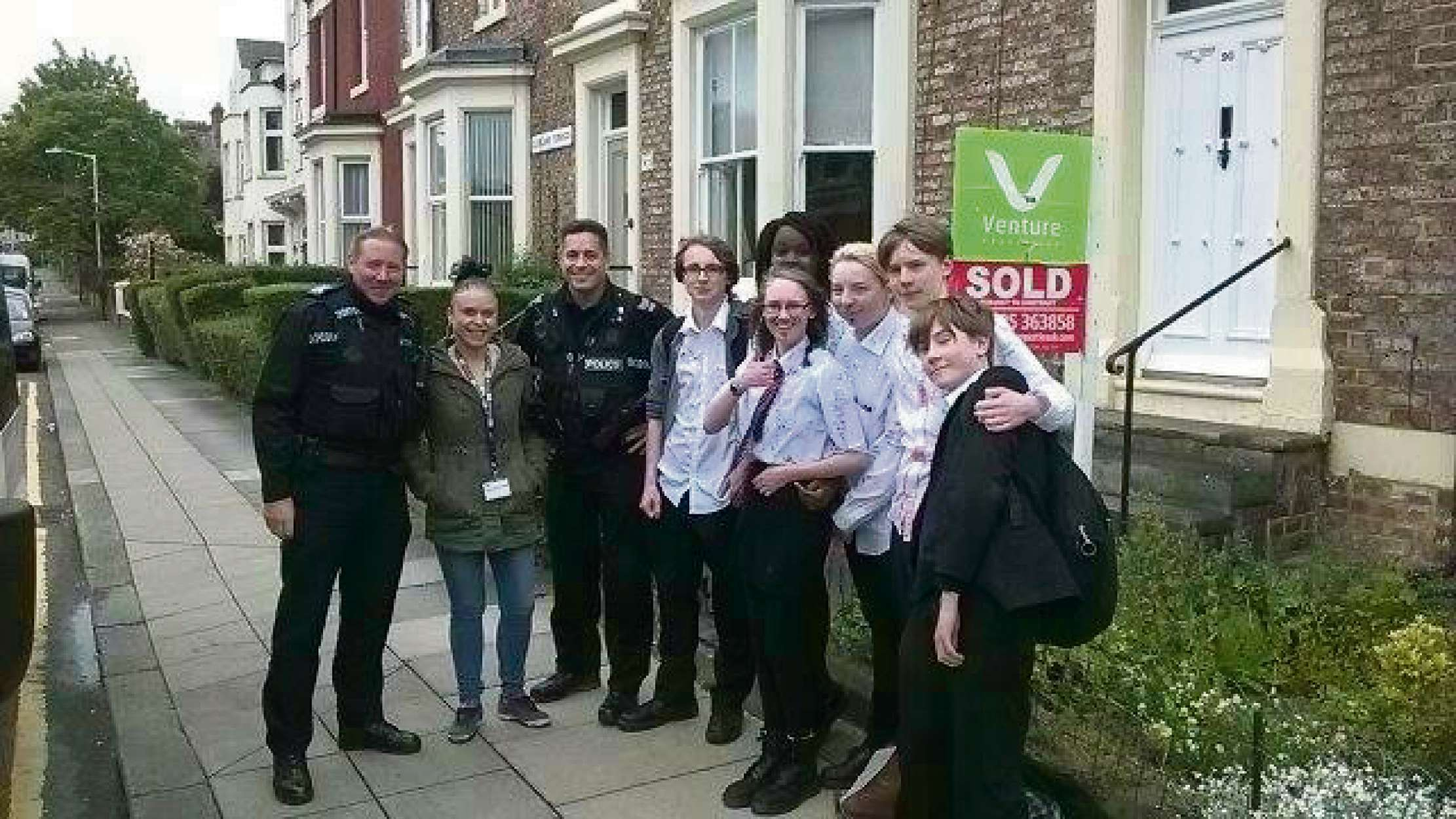 LAST DAY: Members of Cockerton beat team mingle with school leavers from Hummersknott Academy, in Darlington