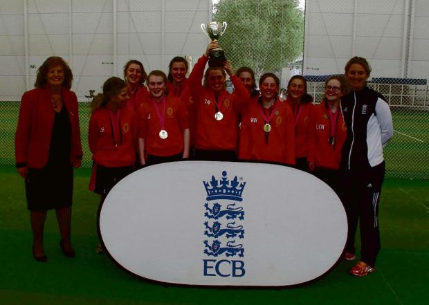 SPORTING SUCCESS: From left, Marilyn Fry, outgoing chair of the Lady Taverners, with students Lucy Hartley,  Abby Blenkiron, Amy Jobling, India Wilson, captain Georgi Walker, Mairi Teasdale, Meg Walker, Rosie Brannigan, Liberty Noke and England women'