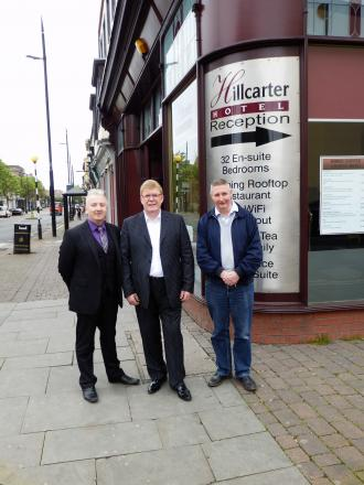 Brian Morton (centre) is pictured with Coun Christopher Akers-Belcher (left) and Coun Robbie Payne, chair of the Council's Regeneration Services Committee