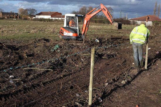 Darlington and Stockton Times: Low Lane, Ingleby Barwick  -  Joe Gaskin Contractors work on an area of land where a new school is to be built.