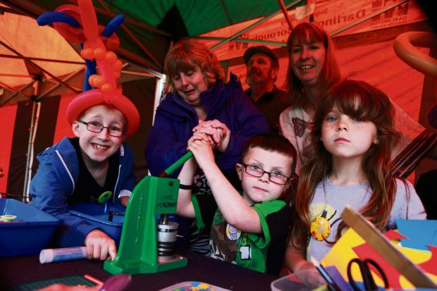Darlington and Stockton Times: GREEN FAIR: fun event highlighting the importance of preserving our environment, organised by the Lascelles Community Partnership pictured front Joshua Seabrook 9, Christine Dickinson, Brandon Hickson 5, Alexa Hickson 7