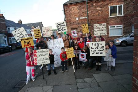 RESIDENTS' ANGER: Residents of Boosbeck protesting against the re-opening of a slaughterhouse in their village at an earlier date