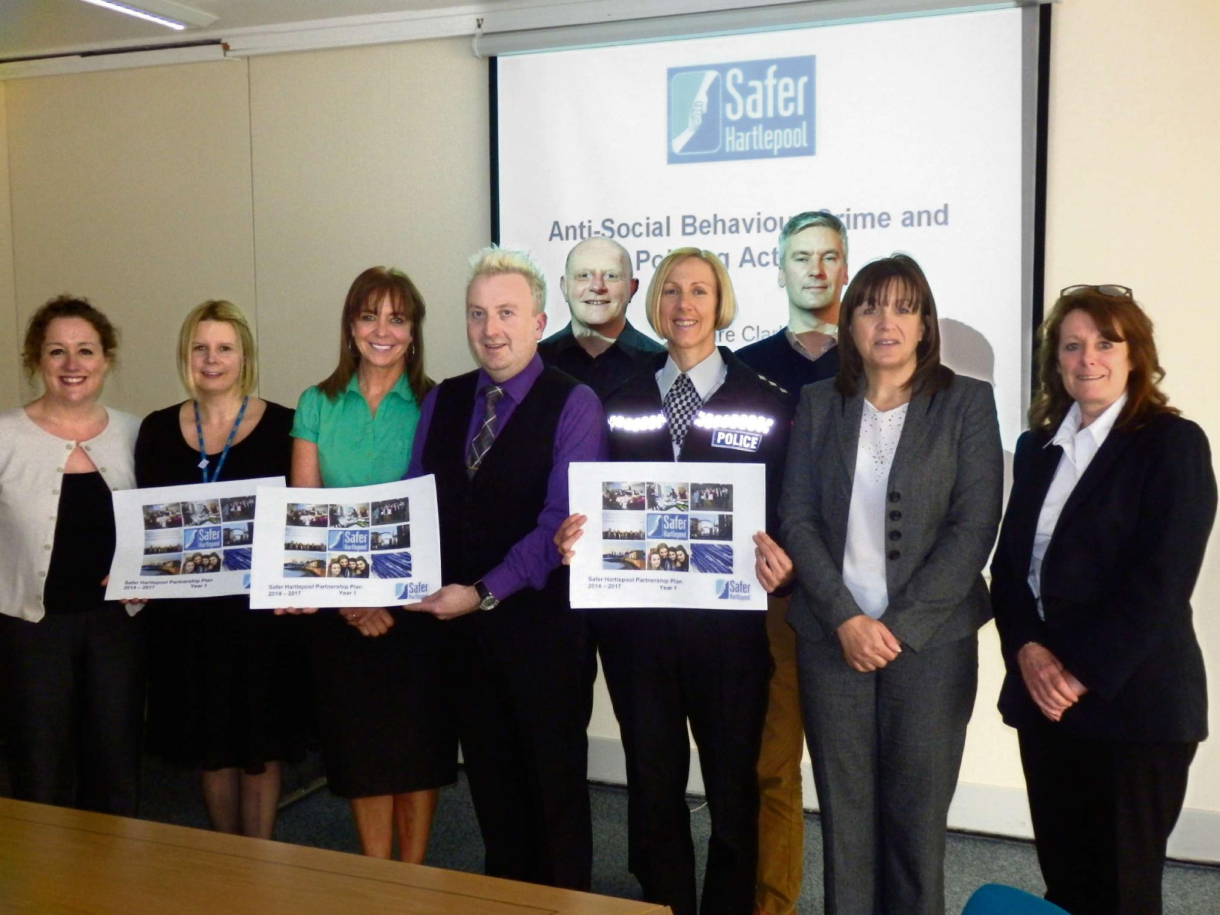 Picture caption: Councillor Christopher Akers-Belcher (fourth from the left) with some of the other Safer Hartlepool Partnership members and representatives at the launch of the new plan