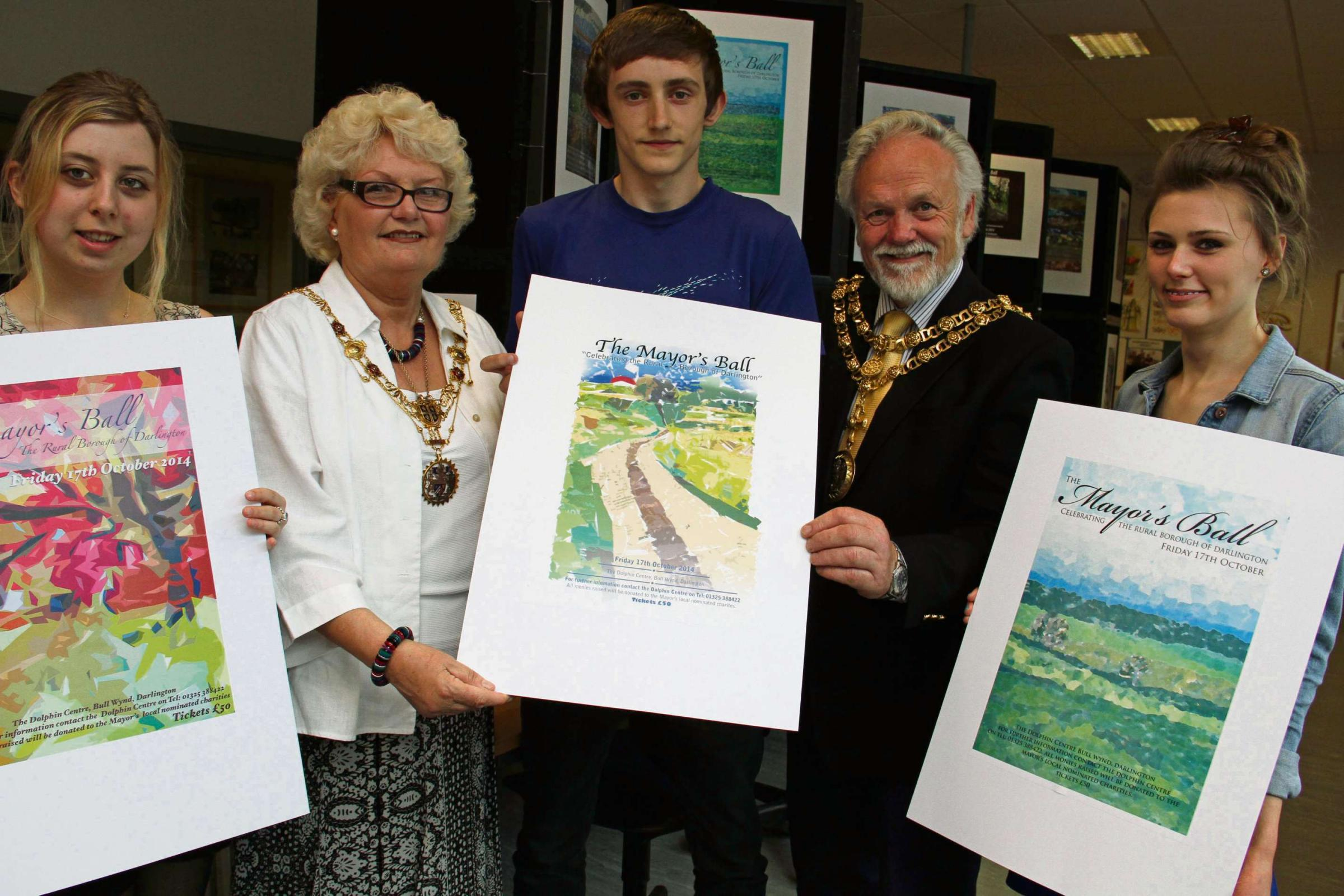 WINNING DESIGNS: Students exhibit their winning designs. From left, Ashleigh McGargle, Darlington mayoress Ruth Lee, James Allinson, mayor Gerald Lee, and Amber Young