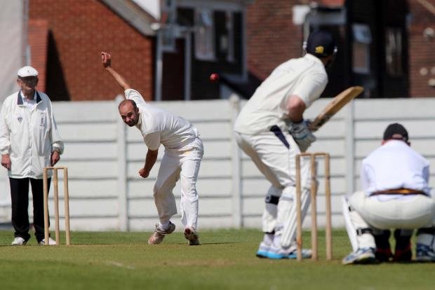 Darlington and Stockton Times: BOWLING: Hylton Cricket Club's Gavin Barnes in action against Burnmoor