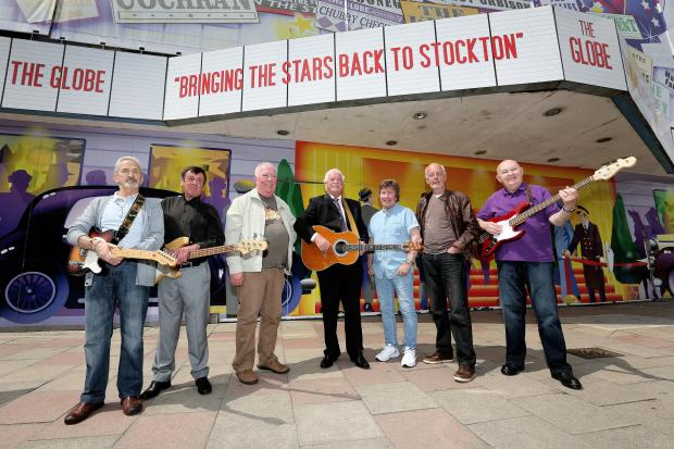 Former Blue Caps band members who will feature in art work in front of Stockton's historic Globe Theatre (from L-R) – Ian Peacock, Les Bennett, Eric Whitehouse, Albert Smith, Peter Embleton, Stockton Council's Cabinet Member for Arts, Leis