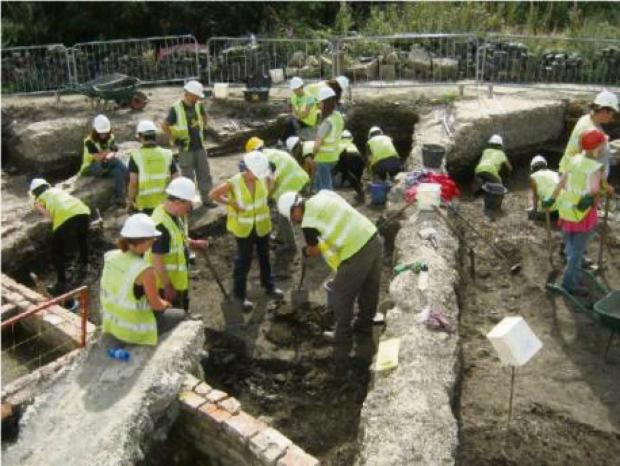 SEVEN YEAR DIG: Work on the Hungate site during the dig.