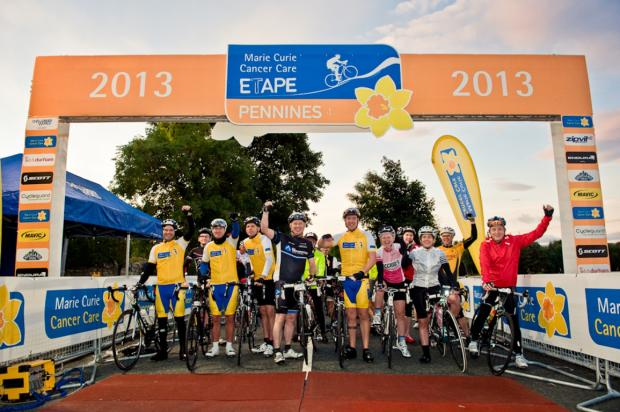 Cyclists prepare to depart for Marie Curie Cancer Care Etape Pennines 2013 event