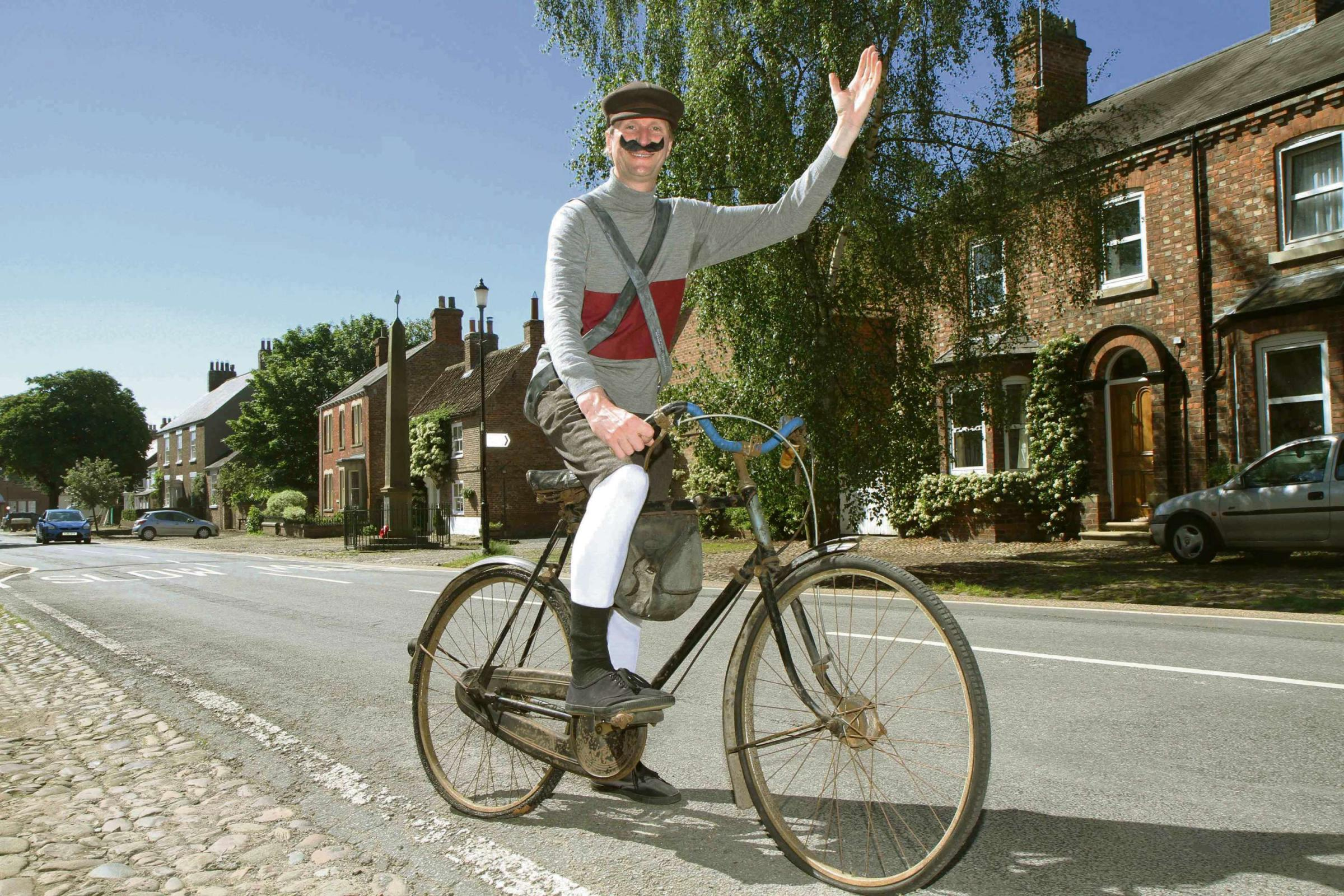 BONJOUR MONSIEUR: Mike Barfield dressed as a rider from the 1903 Tour for his show at Helperby.
