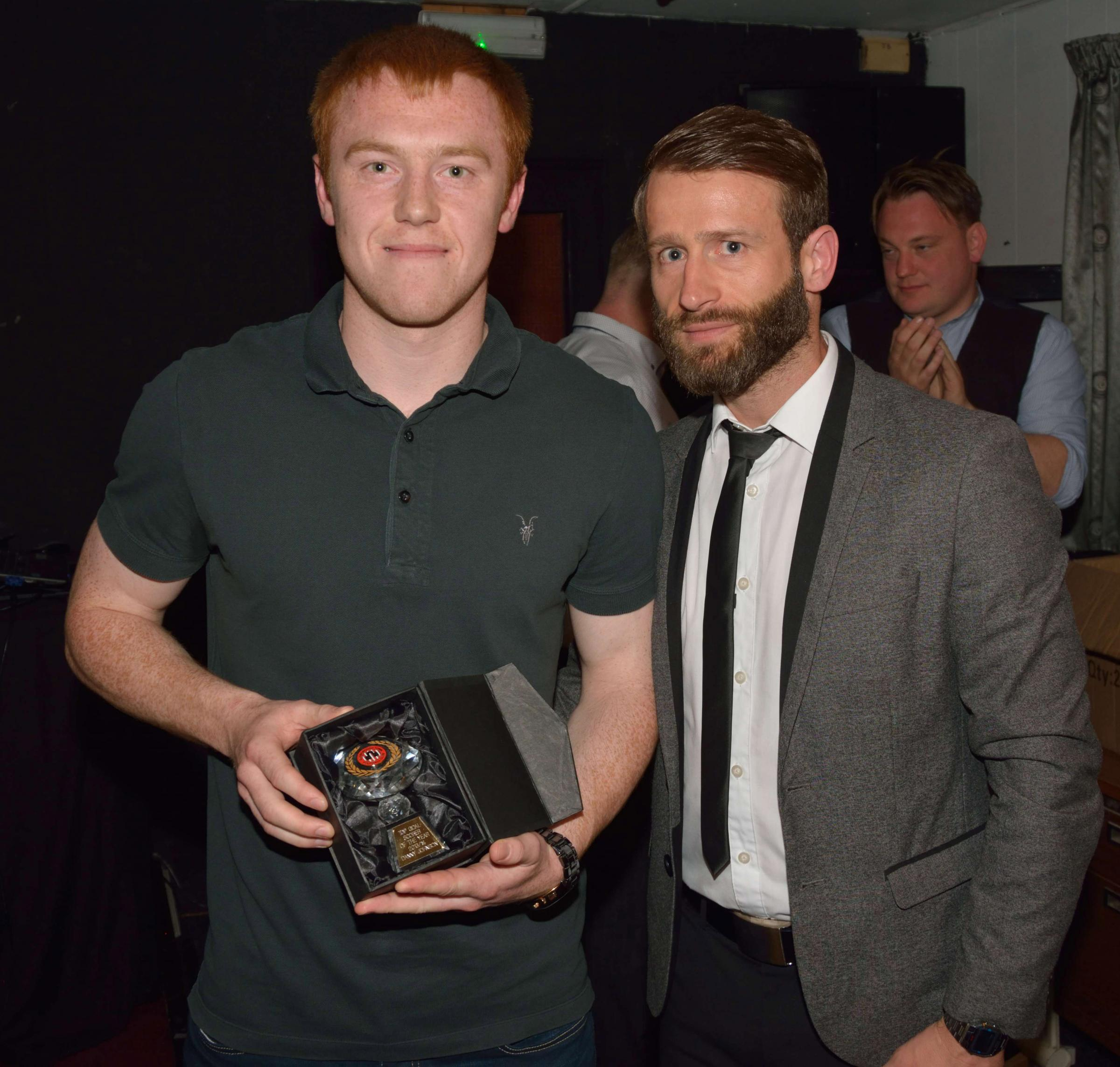 TOP DOGS: Danny Johnson is pictured alongside Guisborough manager Chris Hardy