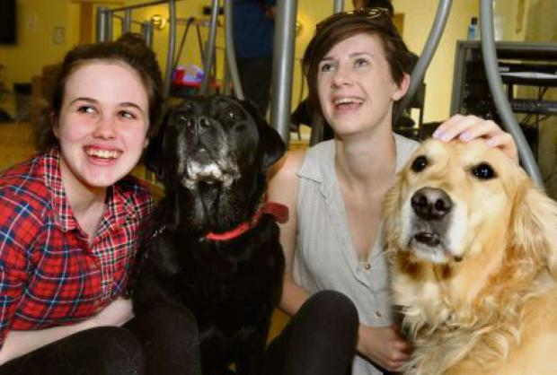 PUPPY LOVE: Katherine Elvin with Tia and Sarah Reeves with Dora