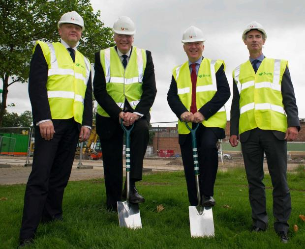 Darlington and Stockton Times: Pictured from left are Malcolm Page, Chief Operating Officer for Teesside University, Vice Chancellor Professor Graham Henderson CBE DL, Middlesbrough MP Andy McDonald and the Chairman of the Board of Governors for Teesside University Alastair McColl pose