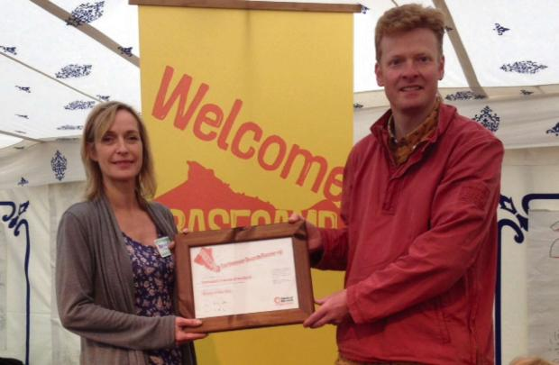 HIGH PRAISE: Kendra Ullyart and Matthew Snedker from Darlington Friends of the Earth with their Earthmovers award