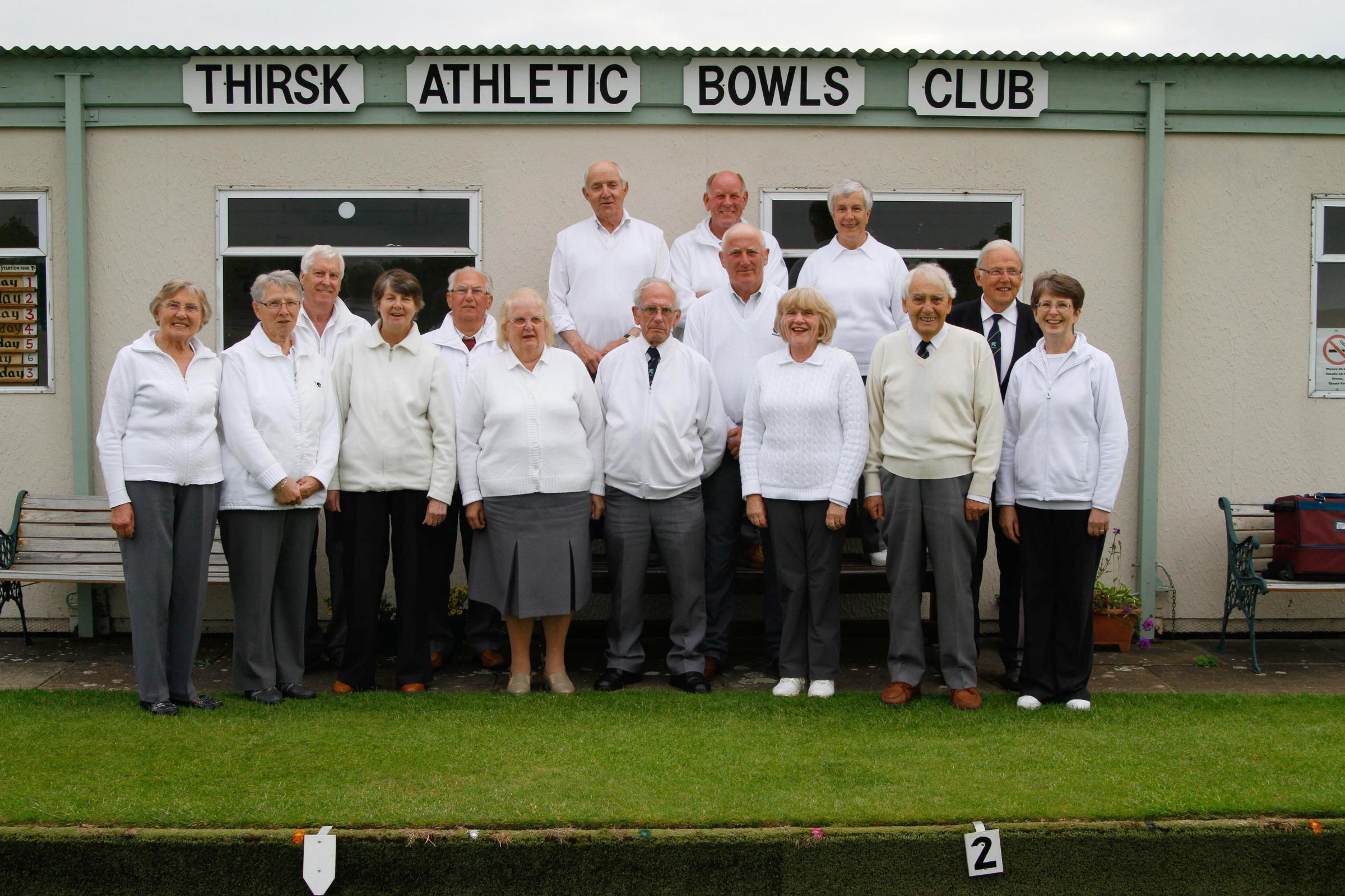 FUNDRAISERS: Members of Thirsk Athletic Bowling Club, who are planning an all-night fundraising bowls session