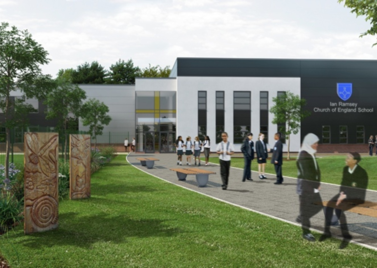 CALL FOR RESIGNATIONS: An artist's impression of the initial design for the new school building at Ian Ramsey Secondary School that was released last year.