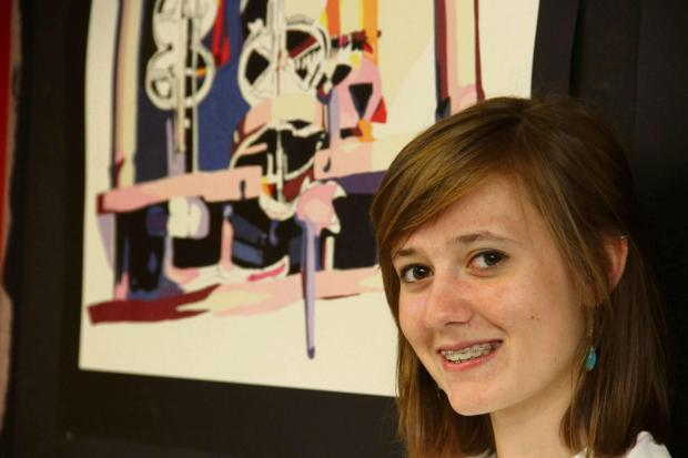 Darlington and Stockton Times: COLLEGE ART: Student Emma Wilson shows off her work.