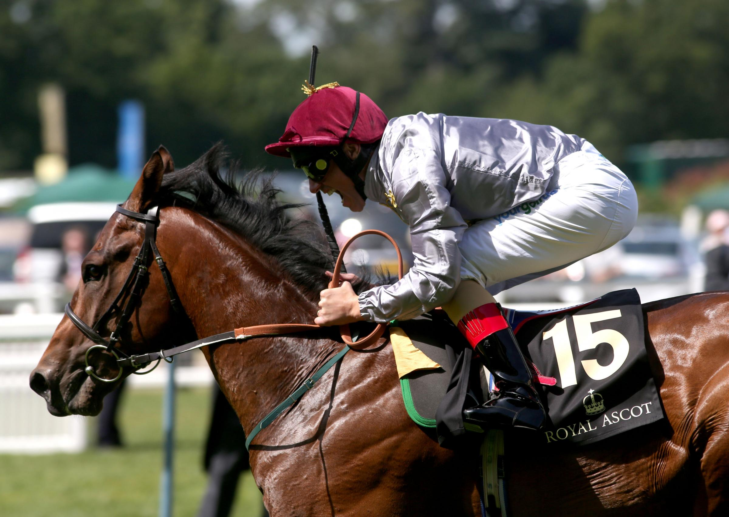ON HIS WAY: The Wow Signal ridden by Frankie Dettori before winning the Coventry Stakes at Ascot Racecourse on Tuesday