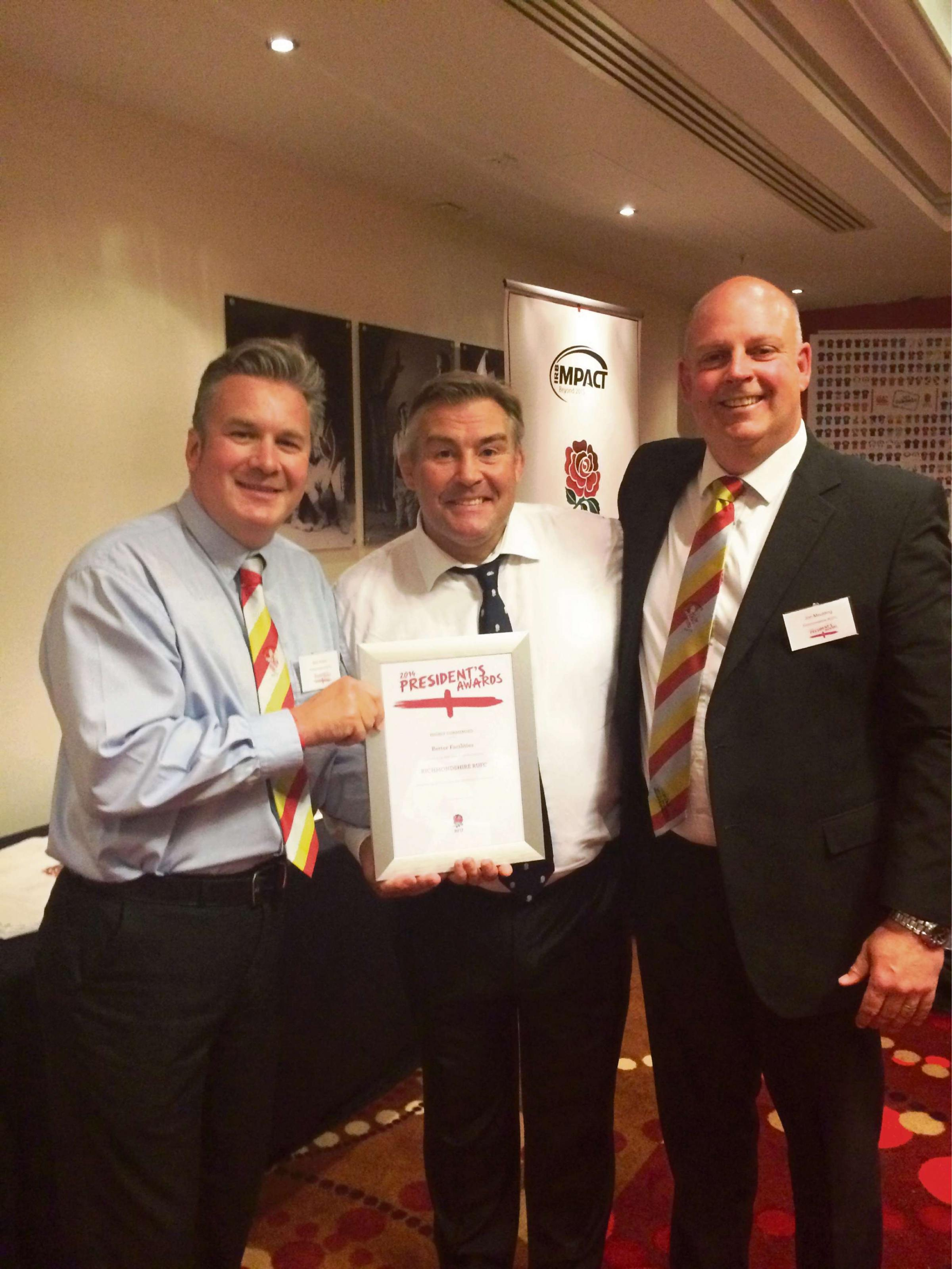 MOST IMPROVED: Richmondshire Rugby Club president Nick Hunter (left), future RFU presidentJason Leonard and Richmondshire